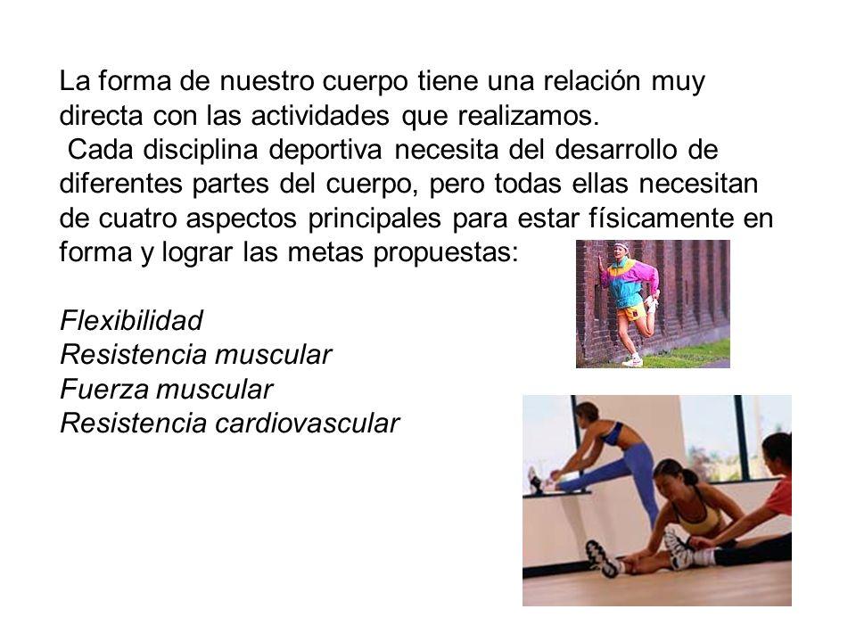 La forma de nuestro cuerpo tiene una relación muy directa con las actividades que realizamos.