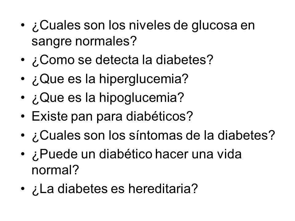 ¿Cuales son los niveles de glucosa en sangre normales