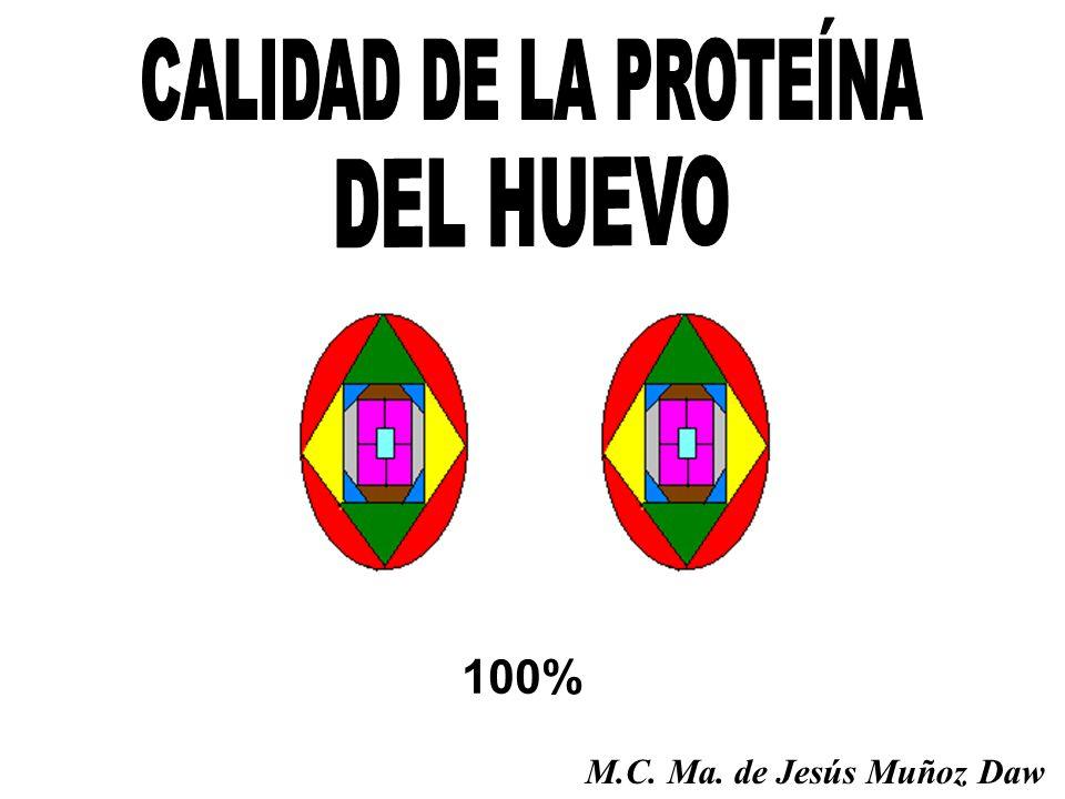 CALIDAD DE LA PROTEÍNA DEL HUEVO 100% M.C. Ma. de Jesús Muñoz Daw
