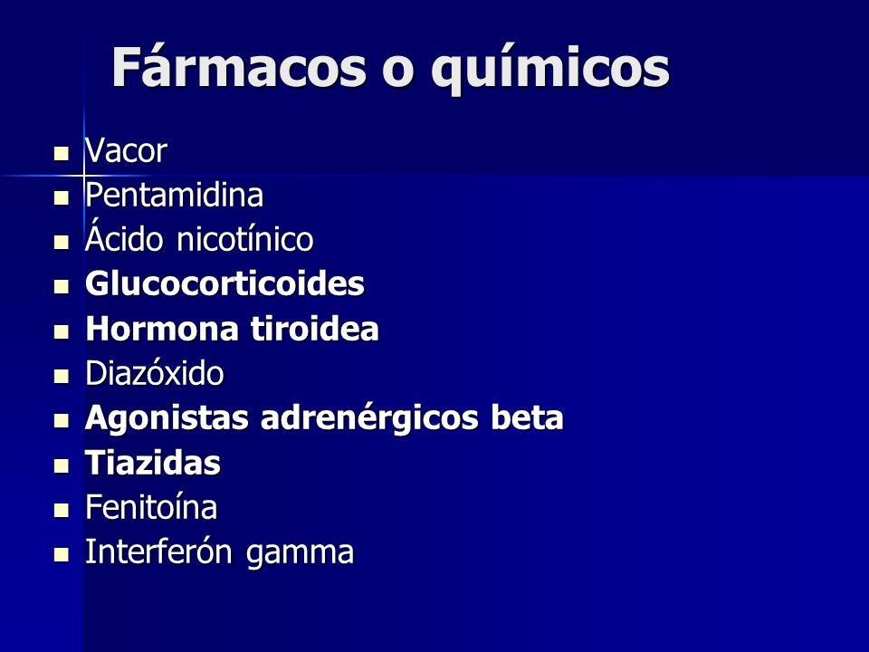 Fármacos o químicos Vacor Pentamidina Ácido nicotínico