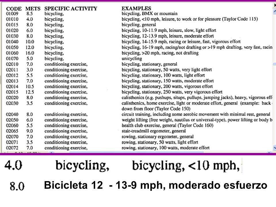 Bicicleta 12 - 13-9 mph, moderado esfuerzo
