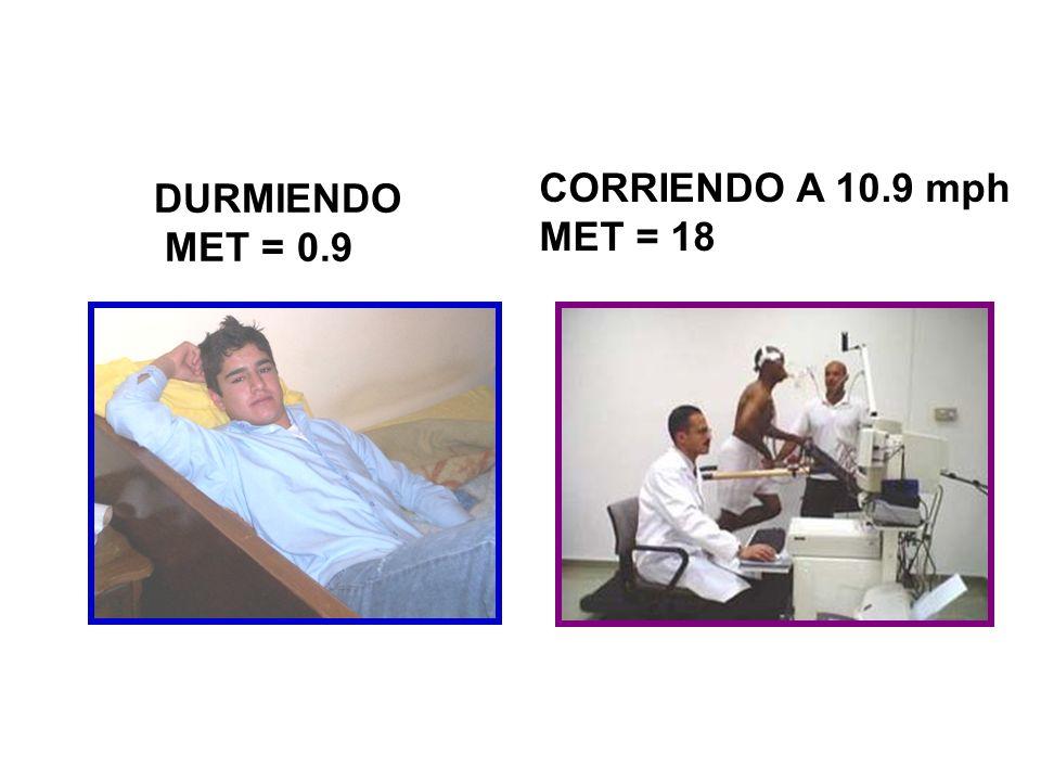 CORRIENDO A 10.9 mph MET = 18 DURMIENDO MET = 0.9
