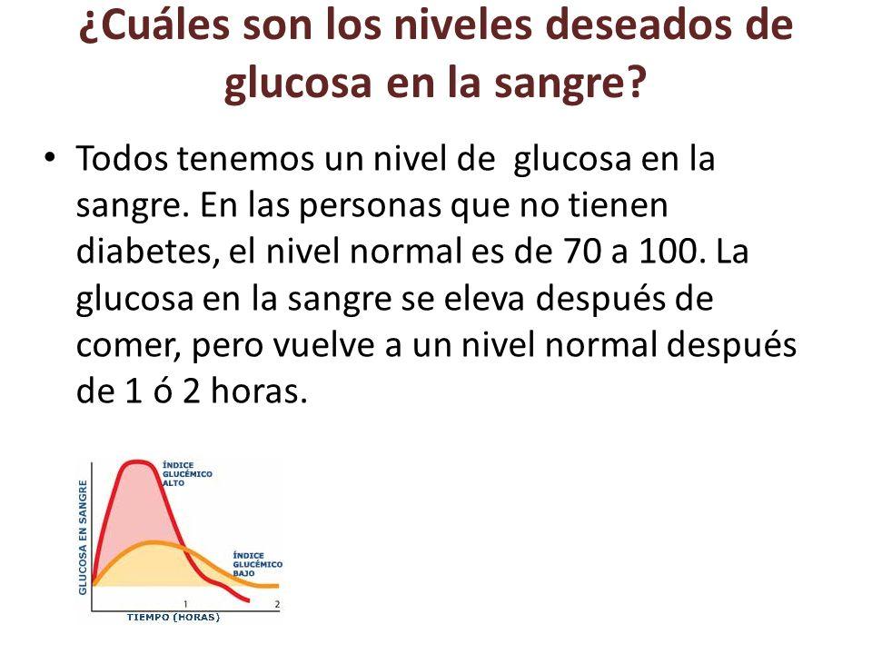 ¿Cuáles son los niveles deseados de glucosa en la sangre