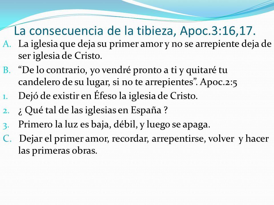 La consecuencia de la tibieza, Apoc.3:16,17.