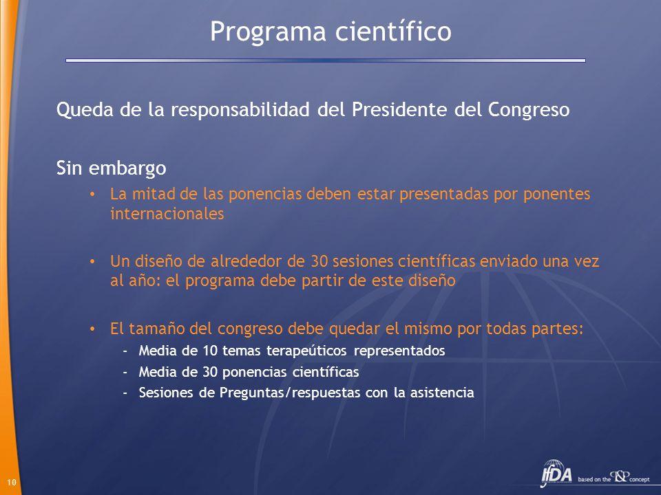 Programa científico Queda de la responsabilidad del Presidente del Congreso. Sin embargo.