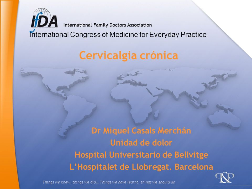 Cervicalgia crónica Dr Miquel Casals Merchán Unidad de dolor
