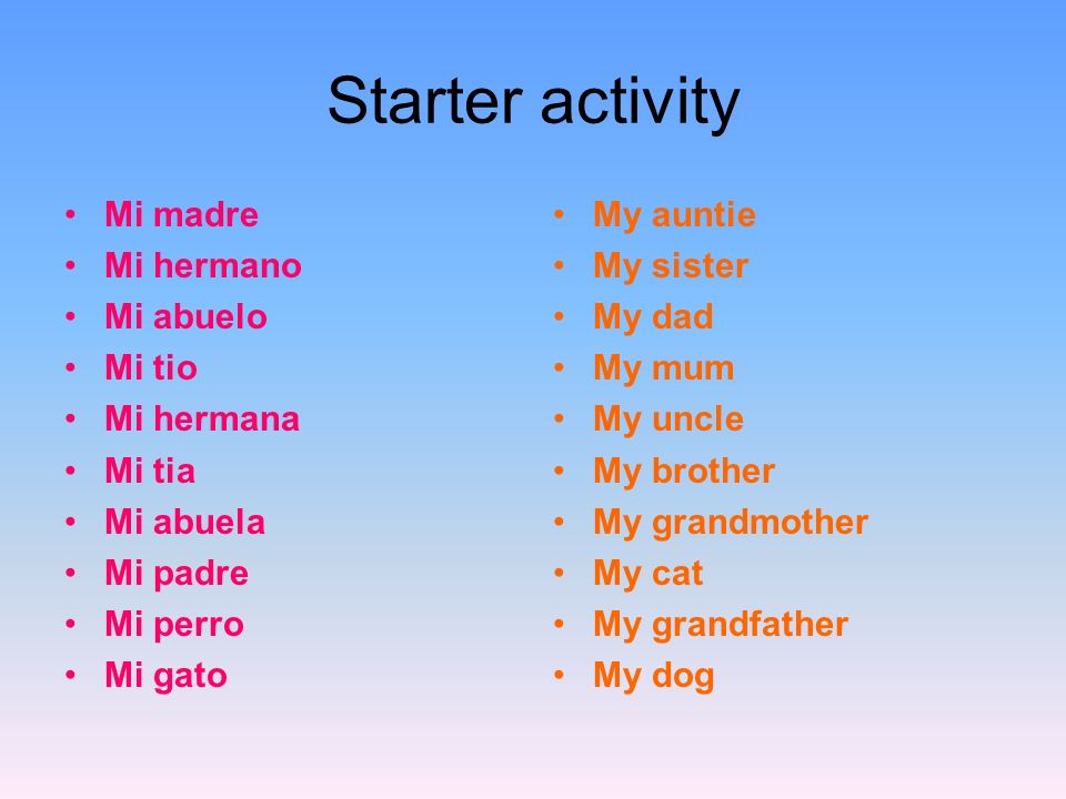 Starter activity Mi madre Mi hermano Mi abuelo Mi tio Mi hermana