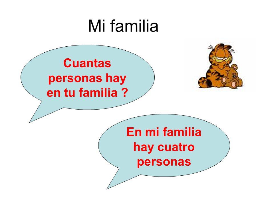 Cuantas personas hay en tu familia En mi familia hay cuatro personas