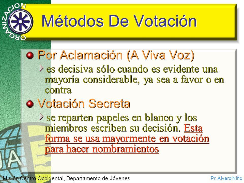 Métodos De Votación Por Aclamación (A Viva Voz) Votación Secreta