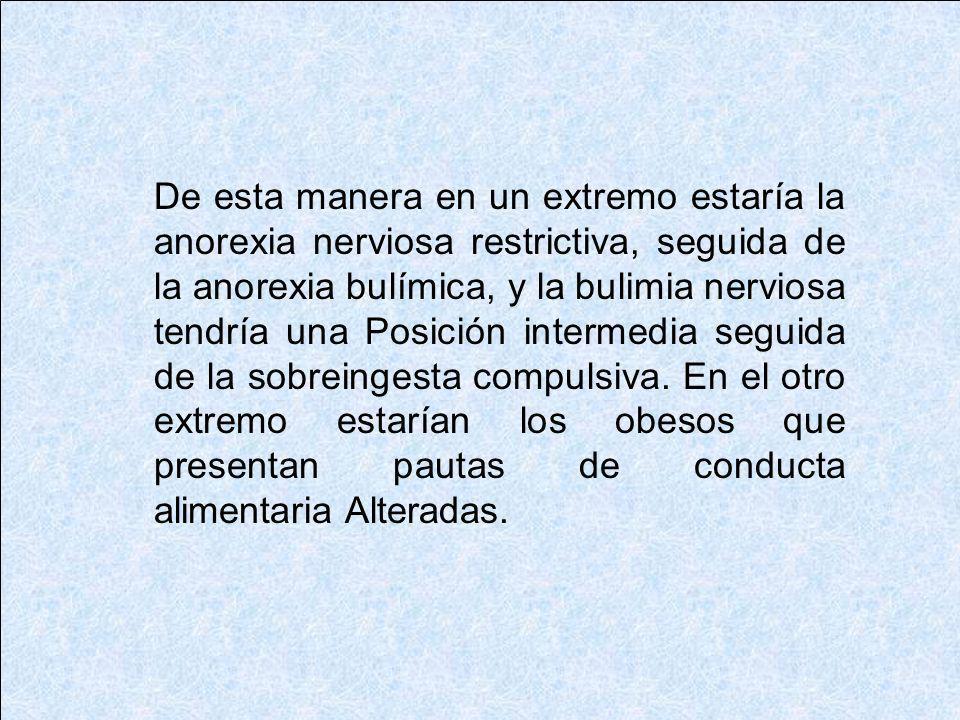 De esta manera en un extremo estaría la anorexia nerviosa restrictiva, seguida de la anorexia bulímica, y la bulimia nerviosa tendría una Posición intermedia seguida de la sobreingesta compulsiva.