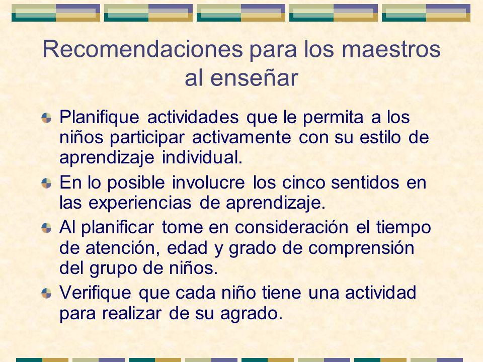 Recomendaciones para los maestros al enseñar