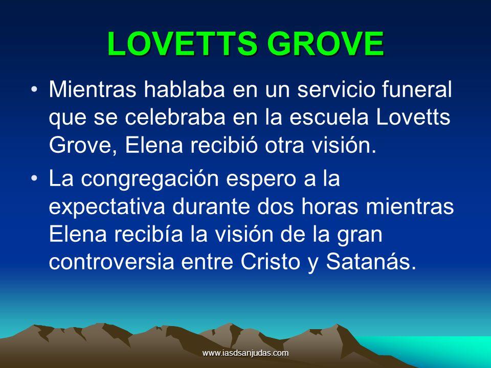 LOVETTS GROVE Mientras hablaba en un servicio funeral que se celebraba en la escuela Lovetts Grove, Elena recibió otra visión.