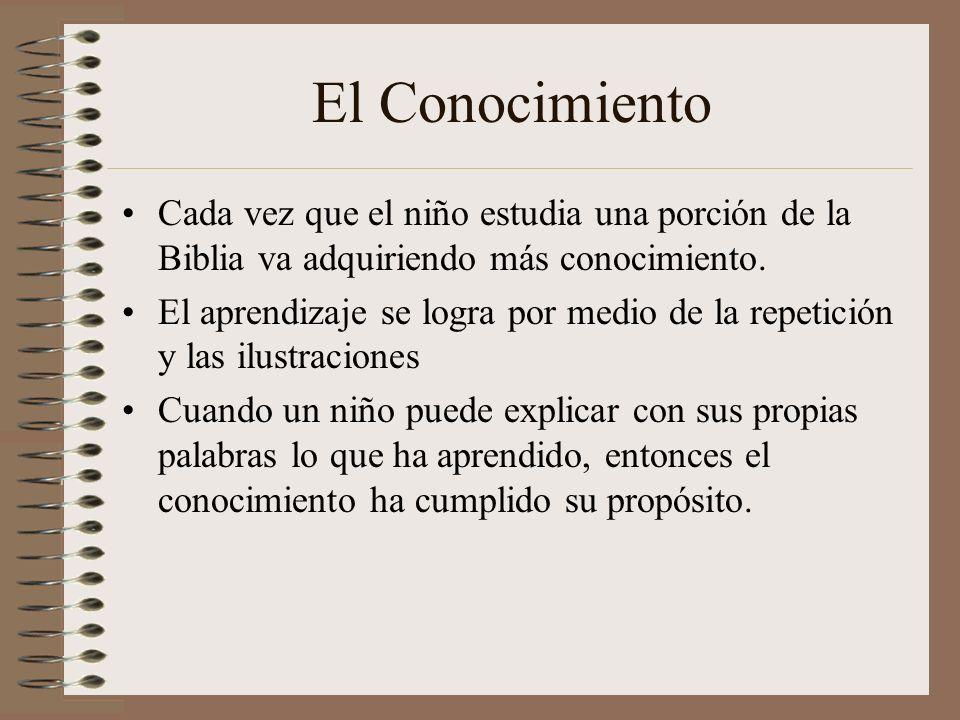 El Conocimiento Cada vez que el niño estudia una porción de la Biblia va adquiriendo más conocimiento.