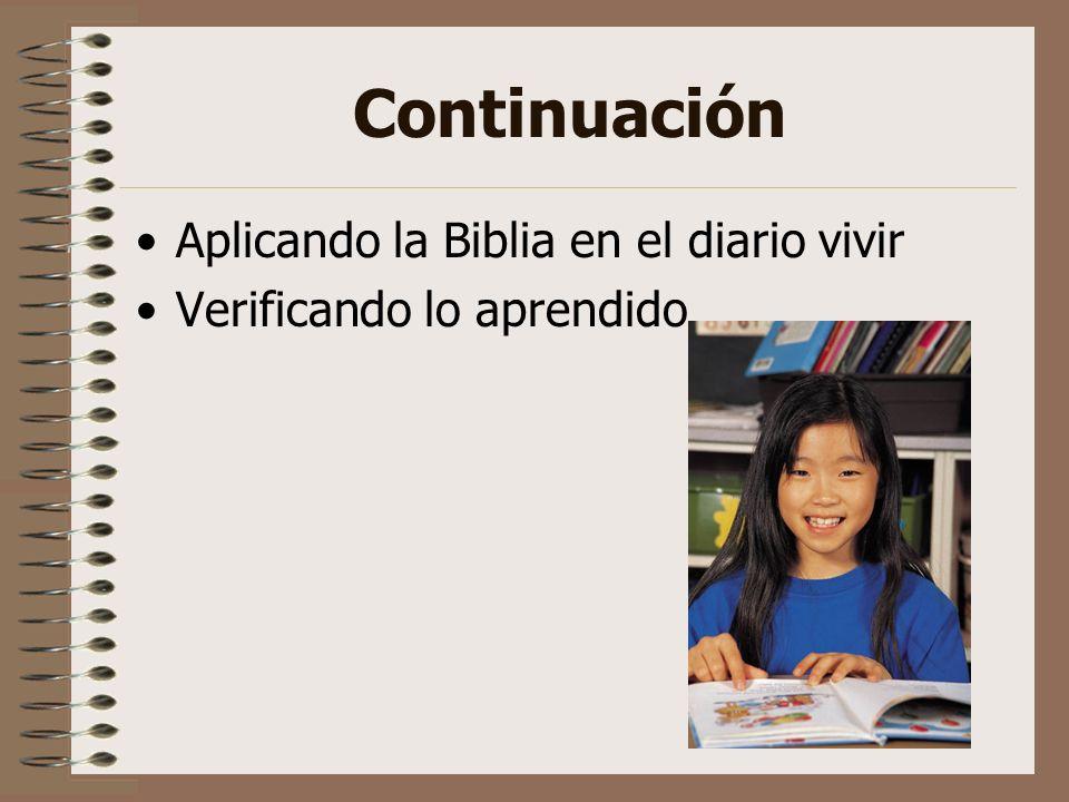 Continuación Aplicando la Biblia en el diario vivir