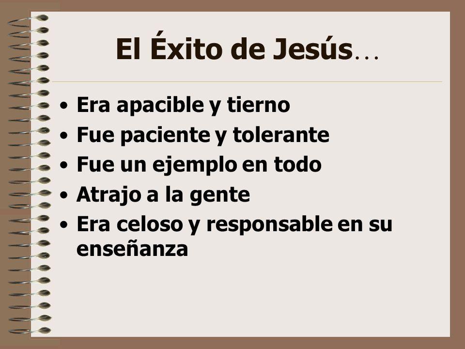 El Éxito de Jesús… Era apacible y tierno Fue paciente y tolerante
