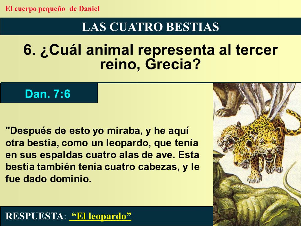 6. ¿Cuál animal representa al tercer reino, Grecia