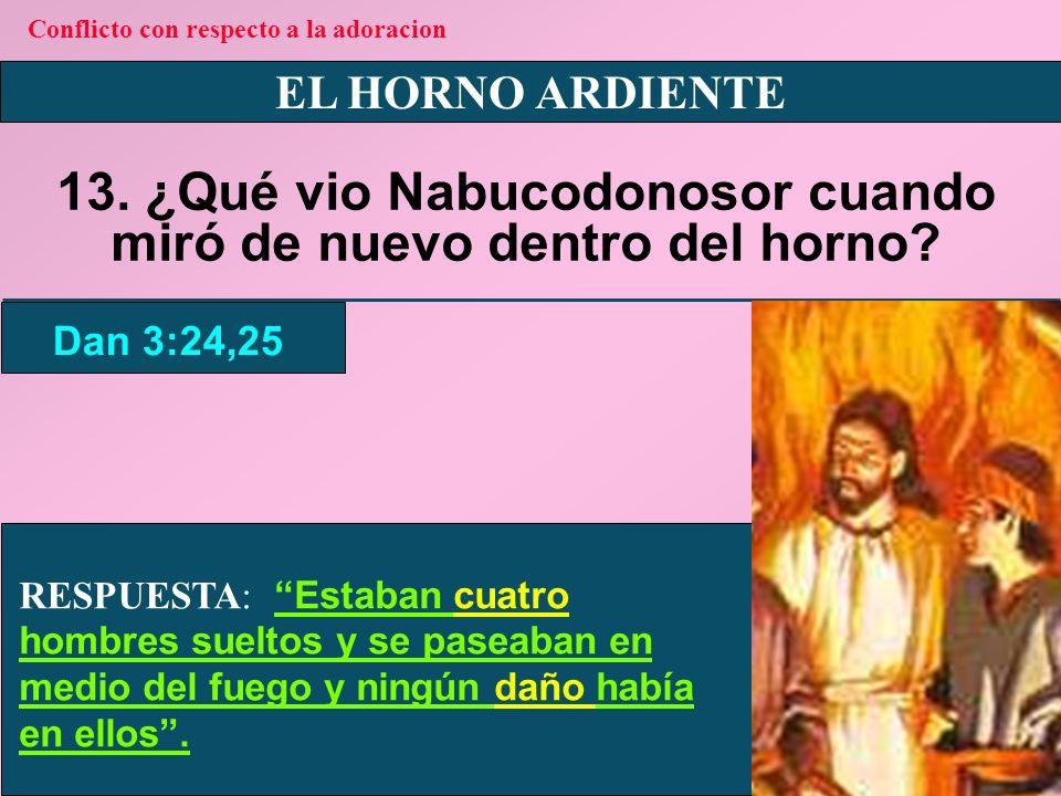 13. ¿Qué vio Nabucodonosor cuando miró de nuevo dentro del horno