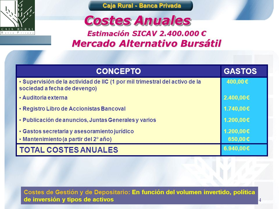 Caja Rural - Banca Privada Mercado Alternativo Bursátil