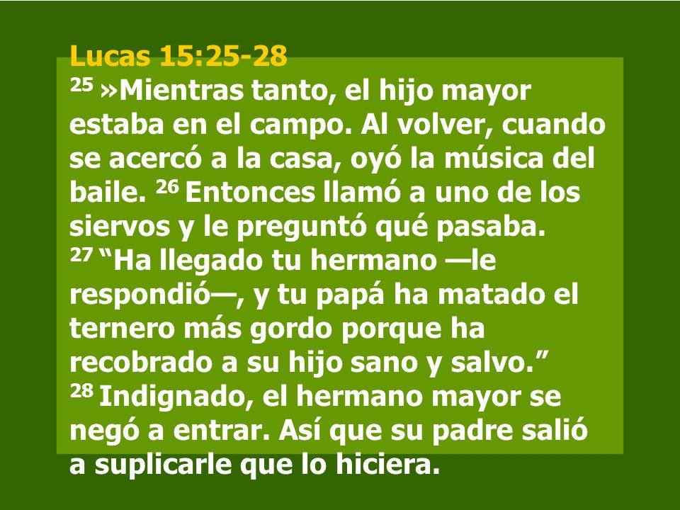 Lucas 15:25-28 25 »Mientras tanto, el hijo mayor estaba en el campo