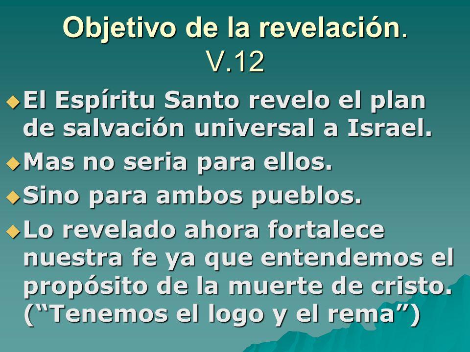 Objetivo de la revelación. V.12