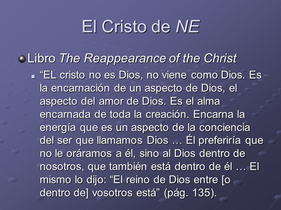 El Cristo de NE Libro The Reappearance of the Christ