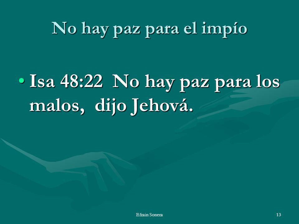 Isa 48:22 No hay paz para los malos, dijo Jehová.
