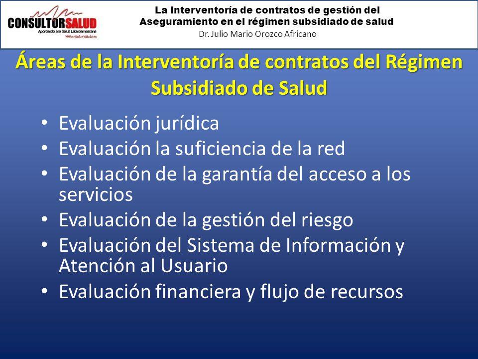 Áreas de la Interventoría de contratos del Régimen Subsidiado de Salud