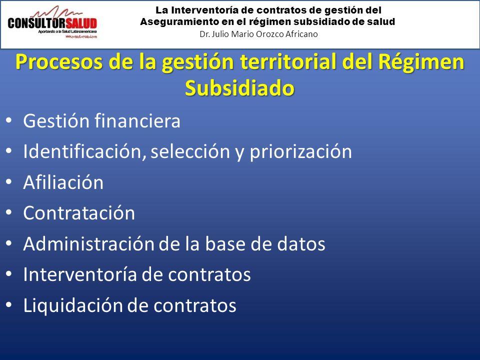 Procesos de la gestión territorial del Régimen Subsidiado