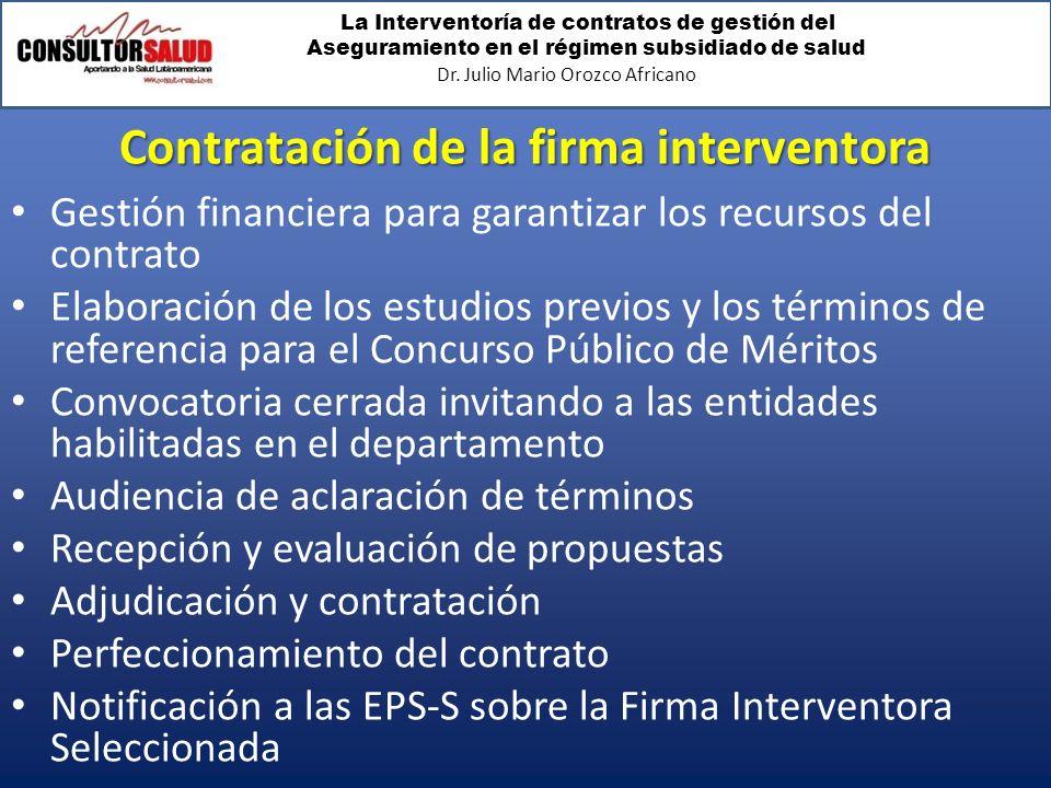 Contratación de la firma interventora