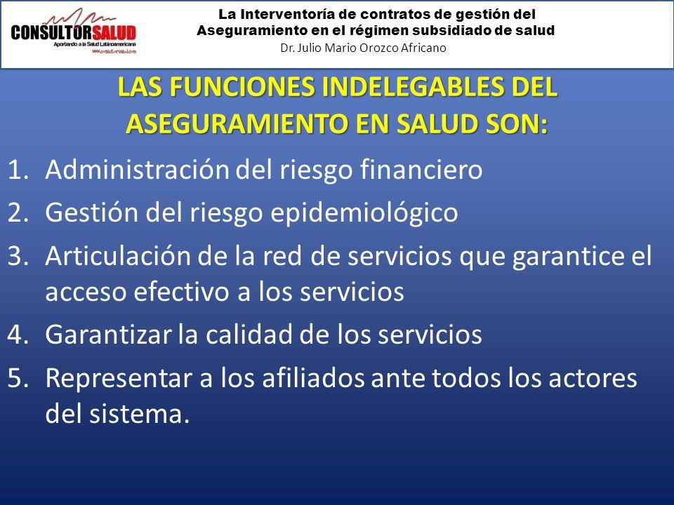 LAS FUNCIONES INDELEGABLES DEL ASEGURAMIENTO EN SALUD SON: