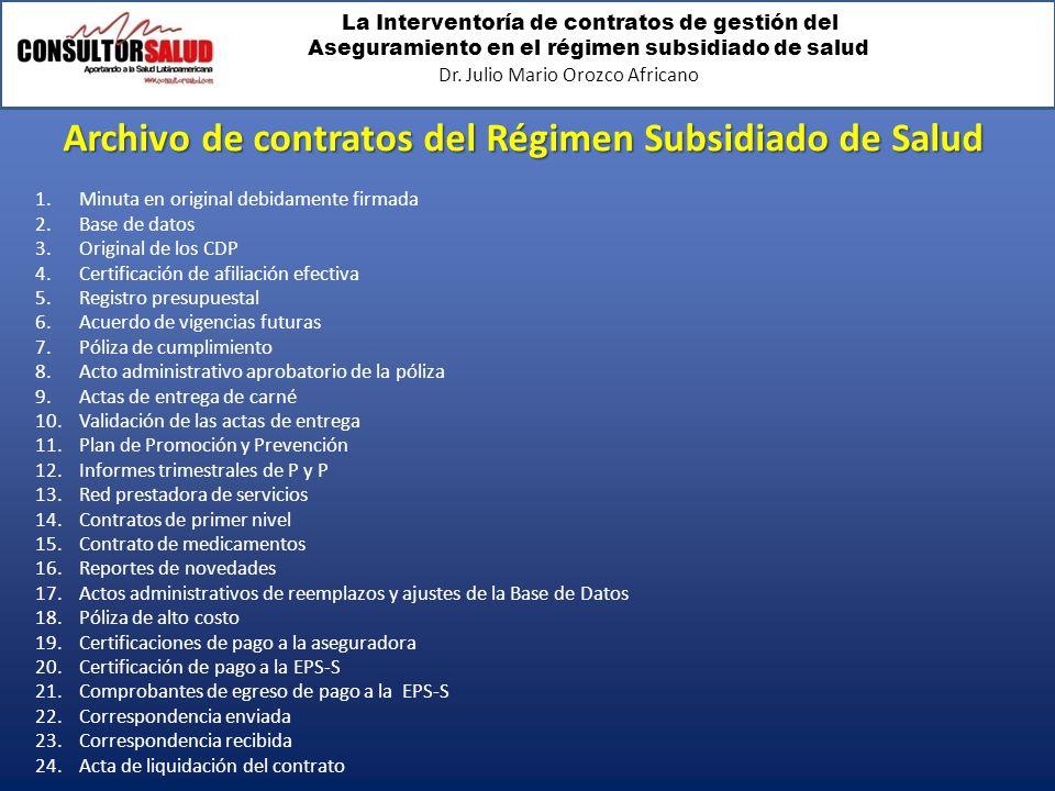 Archivo de contratos del Régimen Subsidiado de Salud