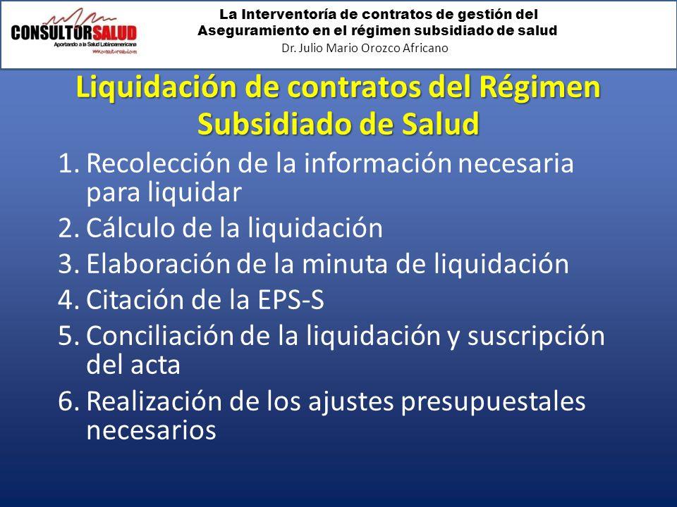 Liquidación de contratos del Régimen Subsidiado de Salud