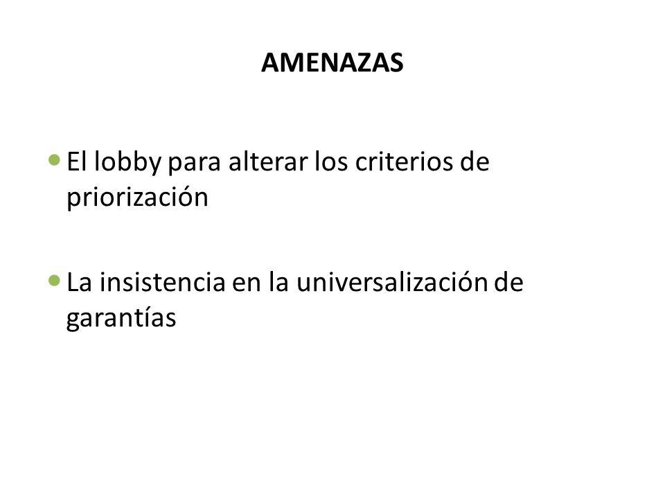 AMENAZASEl lobby para alterar los criterios de priorización.