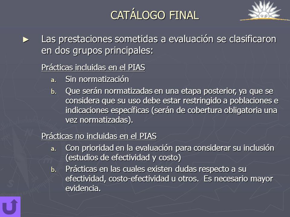 CATÁLOGO FINALLas prestaciones sometidas a evaluación se clasificaron en dos grupos principales: Prácticas incluidas en el PIAS.