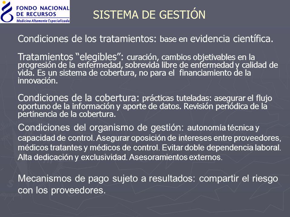 SISTEMA DE GESTIÓN Condiciones de los tratamientos: base en evidencia científica.