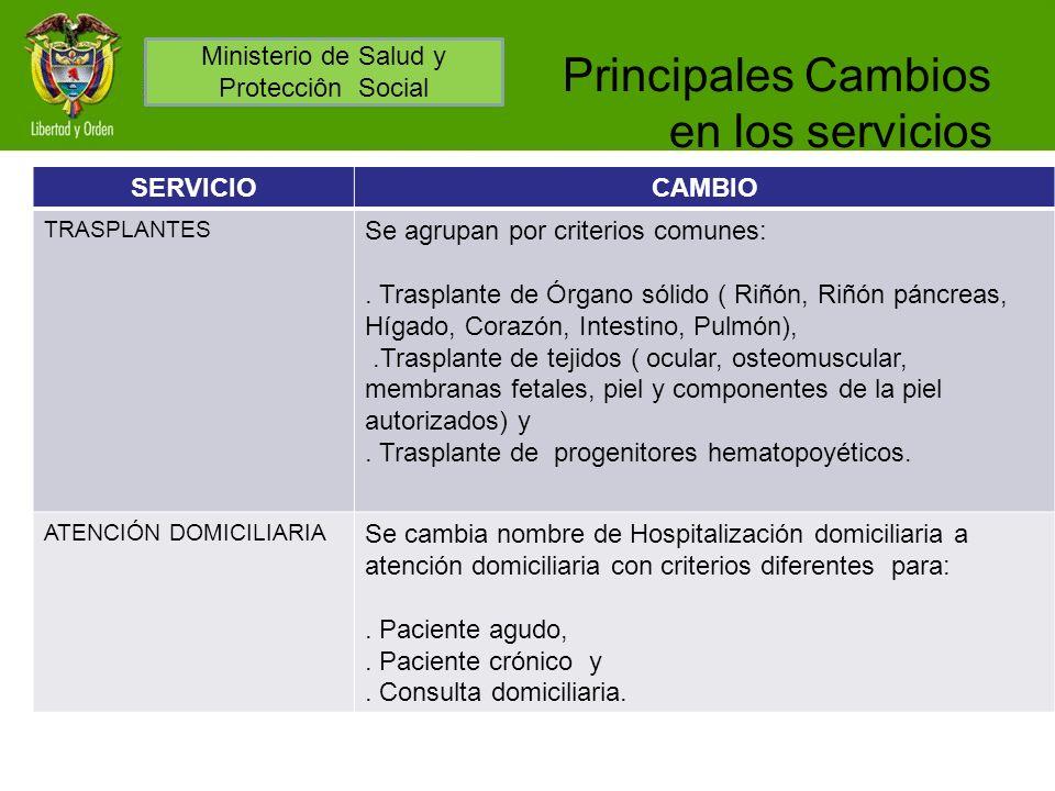 Principales Cambios en los servicios