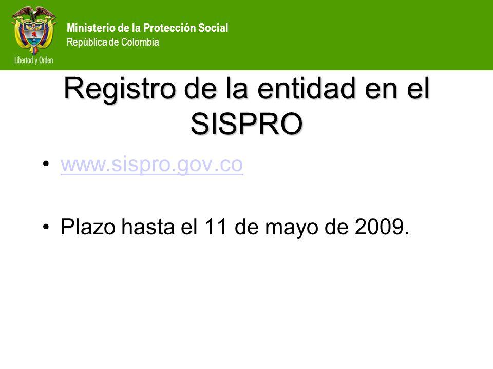 Registro de la entidad en el SISPRO