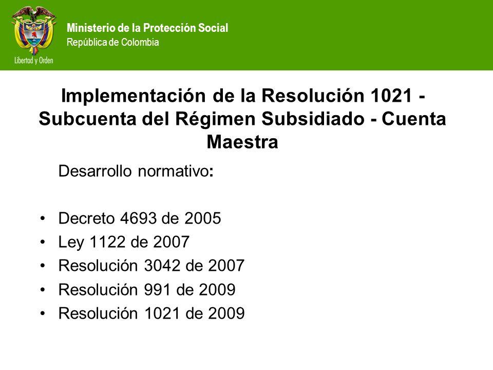 Implementación de la Resolución 1021 - Subcuenta del Régimen Subsidiado - Cuenta Maestra