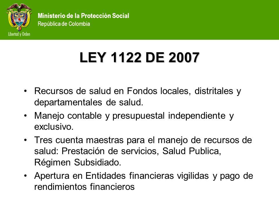 LEY 1122 DE 2007Recursos de salud en Fondos locales, distritales y departamentales de salud.