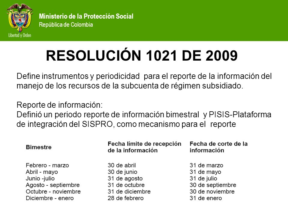 RESOLUCIÓN 1021 DE 2009