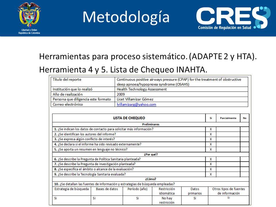MetodologíaHerramientas para proceso sistemático.(ADAPTE 2 y HTA).
