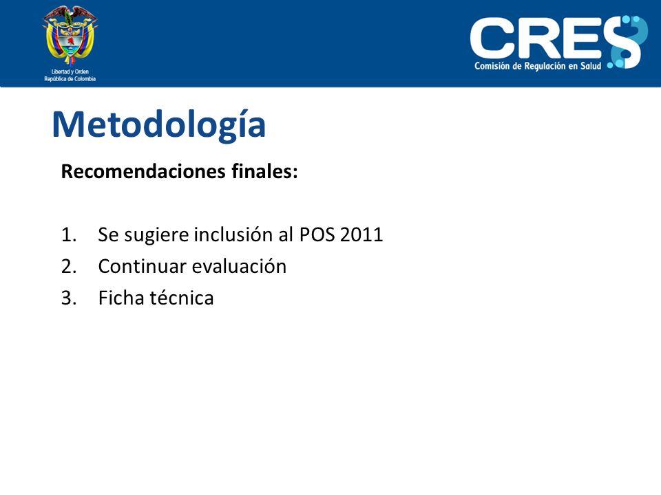 Metodología Recomendaciones finales: Se sugiere inclusión al POS 2011