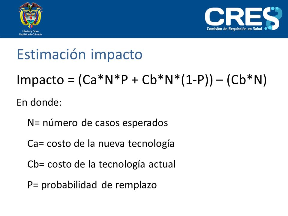 Estimación impacto Impacto = (Ca*N*P + Cb*N*(1-P)) – (Cb*N) En donde: