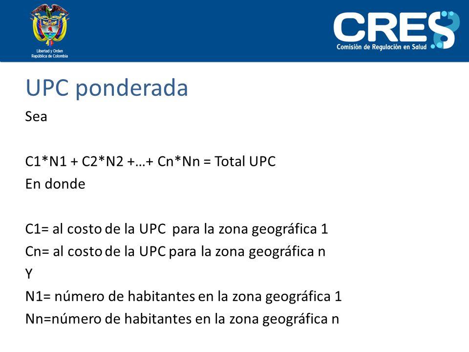 UPC ponderada Sea C1*N1 + C2*N2 +…+ Cn*Nn = Total UPC En donde