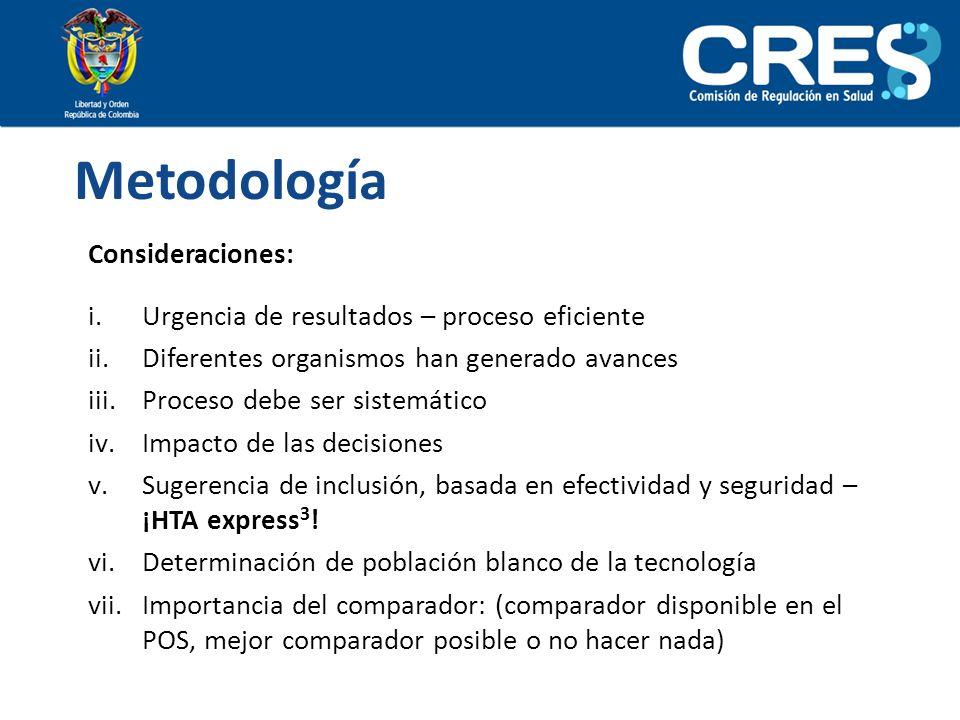 Metodología Consideraciones:
