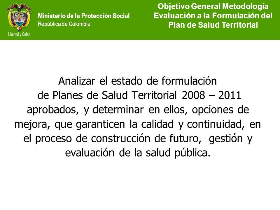 Objetivo General Metodología Evaluación a la Formulación del Plan de Salud Territorial