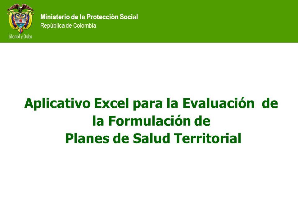 Aplicativo Excel para la Evaluación de la Formulación de