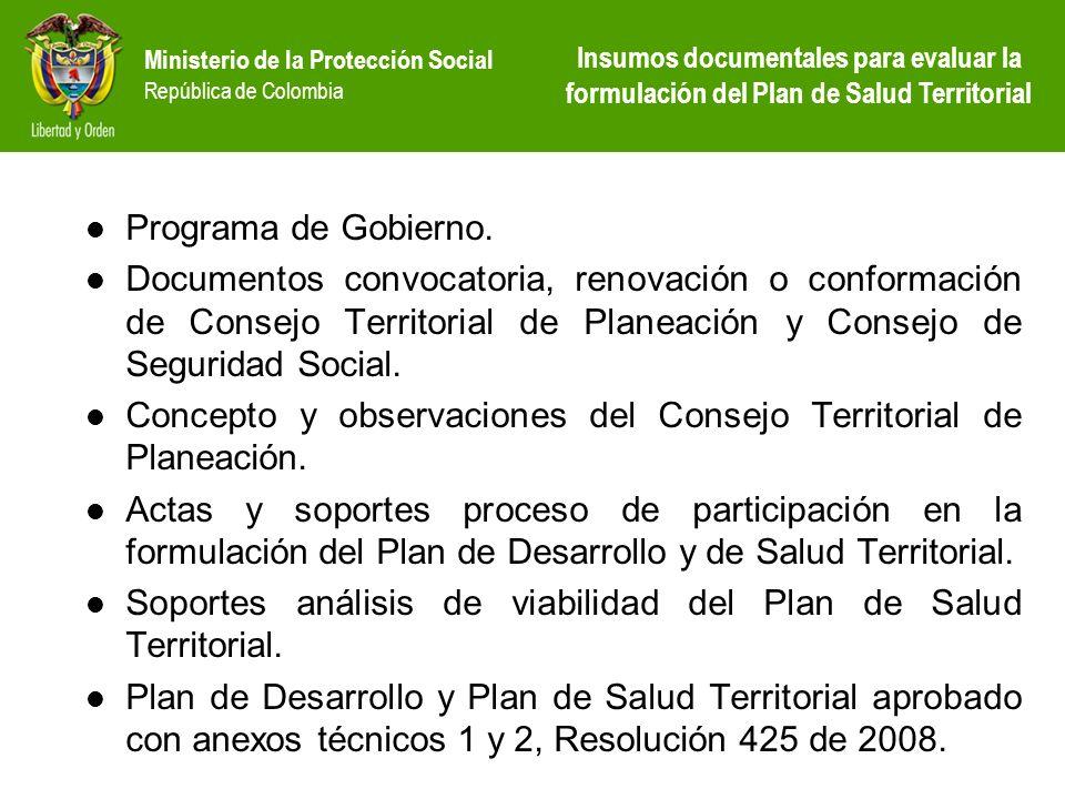 Concepto y observaciones del Consejo Territorial de Planeación.