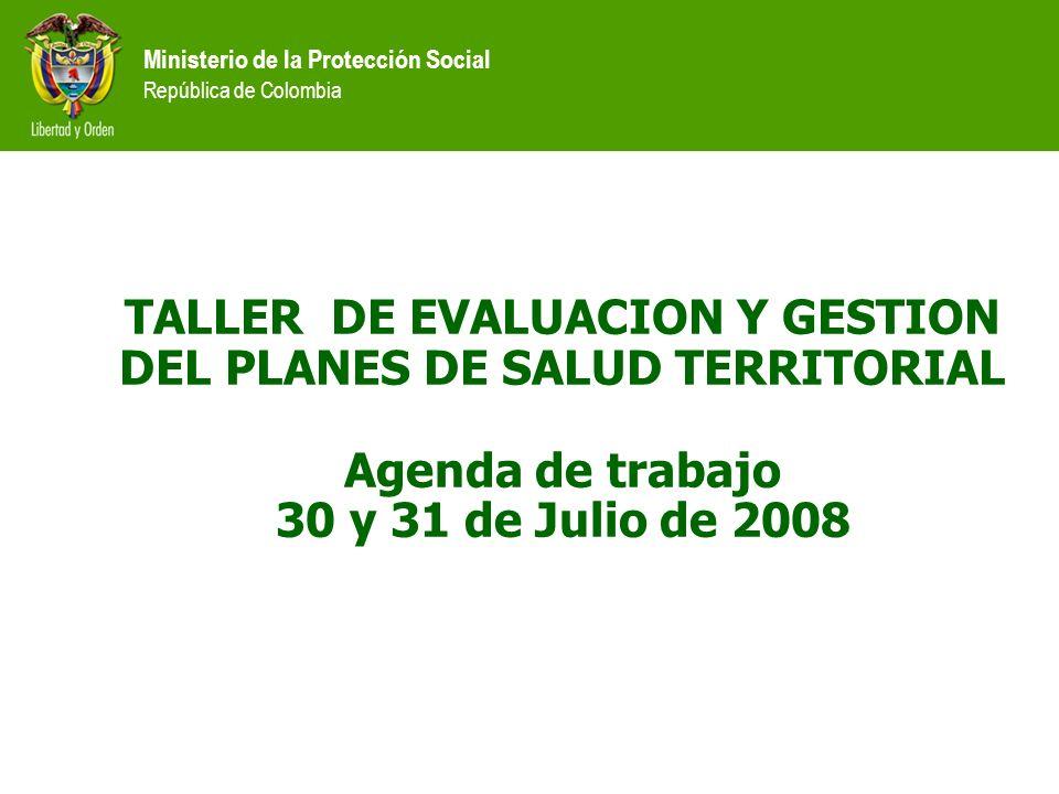 TALLER DE EVALUACION Y GESTION DEL PLANES DE SALUD TERRITORIAL Agenda de trabajo 30 y 31 de Julio de 2008