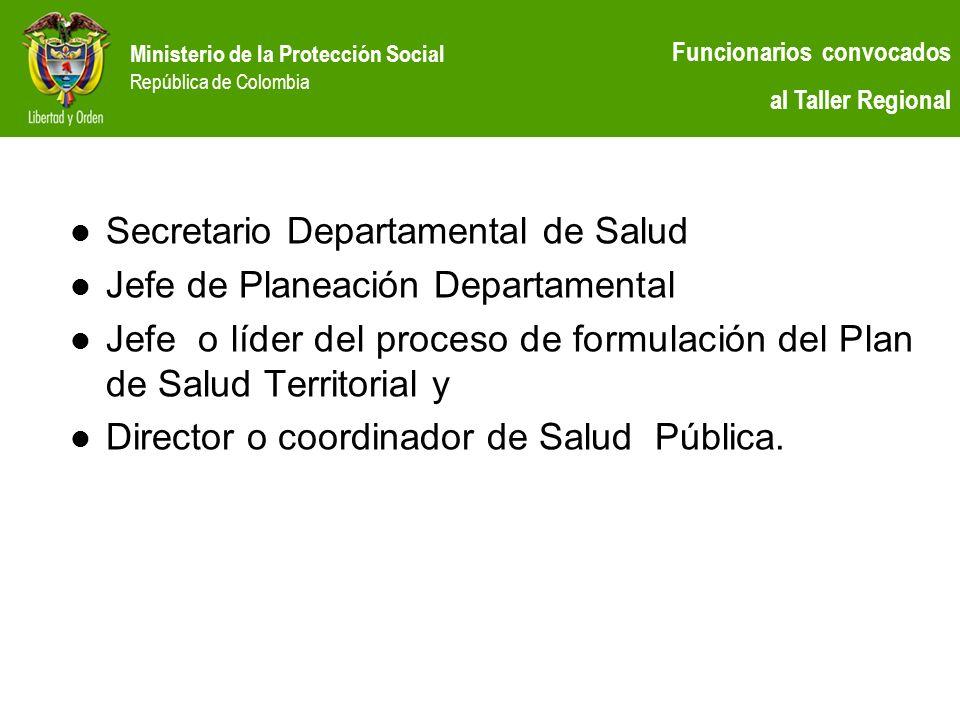 Secretario Departamental de Salud Jefe de Planeación Departamental